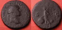 Ancient Coins - VESPASIAN AE dupondius. Lugdunum mint, 77-78 AD. Victoria advancing, holding shield inscribed SPQR.