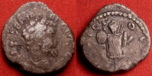 Ancient Coins - SEPTIMIUS SEVERUS AR silver denarius. SCARCE Eastern issue from Emesa, INVICTO IMP. Trophy of arms, celebrating the victory against Pescennius Niger