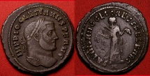 Ancient Coins - DIOCLETIAN AE silvered large follis. Carthage mint. SALVIS AVGG ET CAESS FEL KART, Carthage holding fruits. Significant clashed reverse die, full portrait imprint with legend.