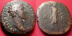 Ancient Coins - MARCUS AURELIUS CAESAR AE orichalcum dupondius. Minerva standing right, holding spear & shield