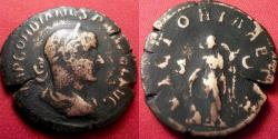 Ancient Coins - GORDIAN III AE sestertius. VICTORIA AETER, Victory standing, holding palm & leaning on shield.