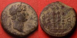 Ancient Coins - HADRIAN AE quadrans. COS III, Legionary eagle between two standards. Rare.