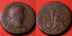 Ancient Coins - VESPASIAN AE as. Lugdunum, 77-78 AD. IVDAEA CAPTA, Judea Capta type, Jewess seated beneath palm tree, surrounded by arms. Scarce