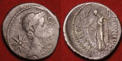Ancient Coins - JULIUS CAESAR DICTATOR AR silver portrait denarius. Lifetime issue, struck Jan-Feb 44 BC. P Sepullius Macer.