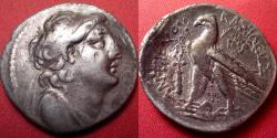Ancient Coins - ANTIOCHUS VII EUERGETES SIDETES AR silver tetradrachm. 136-135 BC. Eagle on prow, club beside