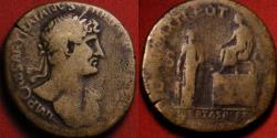 Ancient Coins - HADRIAN AE sestertius. Rome, 119-121 AD. LIBERTAS RESTITUTA, Platform scene, solo Emperor, woman with children below. Very Rare