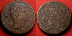 Ancient Coins - OCTAVIAN, naming Julius Caesar, AE heavy dupondius. Italy, 38 BC. DIVOS JULIUS in wreath.