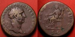 Ancient Coins - TRAJAN AE sestertius. Early issue, 99 AD. Pax seated, holding branch & scepter.