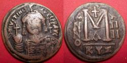 Ancient Coins - JUSTINIAN I AE 37mm, large follis (40 nummi). Cyzicus, regnal year 14 550-551 AD. Large M