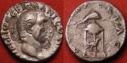 Ancient Coins - VITELLIUS AR silver denarius. Tripod with dolphin, raven below.