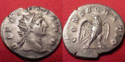 Ancient Coins - DIVUS TRAJAN AR silver antoninianus. Restoration by Trajan Decius. CONSECRATIO, Eagle standing.