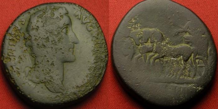 Ancient Coins - ANTONINUS PIUS AE sestertius. COS IIII, Emperor in slow quadriga. Scarce.