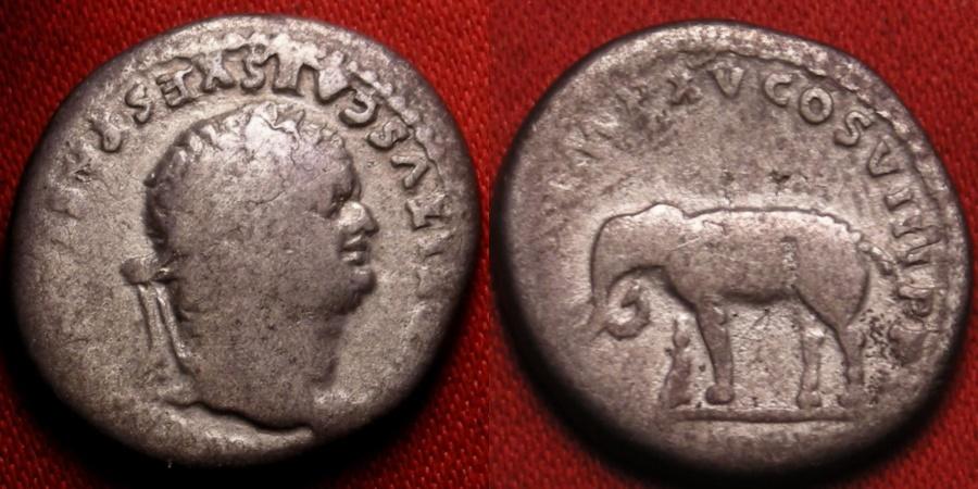 Ancient Coins - TITUS as Augustus AR silver denarius. Elephant standing. Colosseum opening commemorative. Scarce