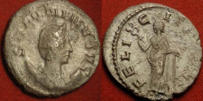 Ancient Coins - SALONINA AR silver antoninianus. FELICITAS PVBL, Felicitas leaning on column. R1