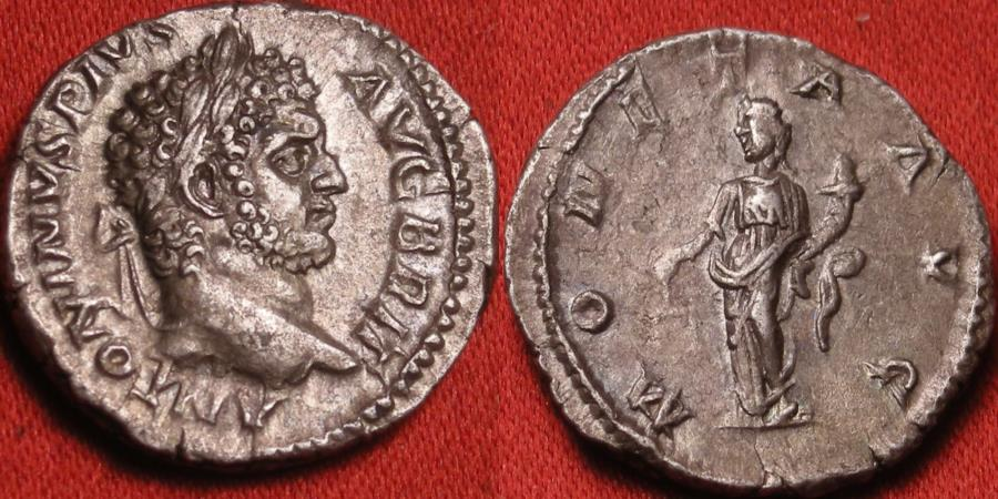 Ancient Coins - CARACALLA AR silver denarius. MONETA standing, holding scales & cornucopia. Heavy 3.8g. Attractive