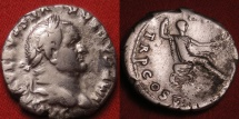 Ancient Coins - VESPASIAN AR silver denarius. Emperor seated right, holding branch & scepter.