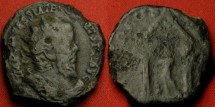 Ancient Coins - POSTUMUS AE radiate double sestertius or dupondius. HERC DEVSONIENSI, Hercules in tetrastyle temple