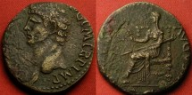 Ancient Coins - CLAUDIUS AE orichalcum dupondius. CERES seated on ornamental throne. Detailed
