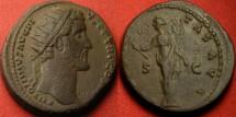 Ancient Coins - ANTONINUS PIUS AE dupondius. Rome, 142 AD. FELICITAS standing, holding branch & caduceus.
