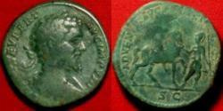 Ancient Coins - SEPTIMIUS SEVERUS AR sestertius. ADVENTVI AVG FELICISSIMO, Severus on horseback, being led by Minerva or Roma. Scarce.