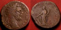 Ancient Coins - SEPTIMIUS SEVERUS AE sestertius. Fortuna standing, holding rudder & cornucopia. 195-196 AD.