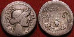 Ancient Coins - JULIUS CAESAR AR silver denarius. Bust of Ceres, priestly implements. Military mint in Utica, following Cato's defeat.