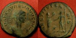 Ancient Coins - AURELIAN AE antoninianus. RESTITVT ORBIS, Aurelian & Victory standing.