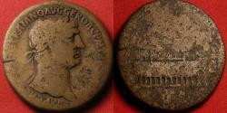 Ancient Coins - TRAJAN AE sestertius. Rome mint, 104-107 AD. CIRCUS MAXIMUS, obelisk of Augustus in center. Very rare.
