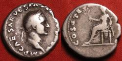 Ancient Coins - VESPASIAN AR silver denarius. COS ITER TR POT, Pax seated. 'First year' type.