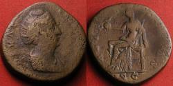Ancient Coins - DIVA FAUSTINA SENIOR AE sestertius. Aeternitas seated, holding phoenix on globe.