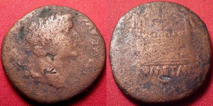 Tiberius, as Caesar. 12-14 AD. Ć As. Lugdunum mint. TI