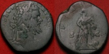 Ancient Coins - SEPTIMIUS SEVERUS AE sestertius. Rome, 194 AD. Africa standing, lion at her side.