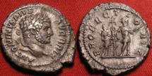 Ancient Coins - CARACALLA AR silver denarius. Rome, 213 AD. PROFECTIO AVG, Caracalla standing, standard & attendant behind. Attractive