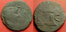 Ancient Coins - DIVUS AUGUSTUS AE imitative as (quadrans?). Large altar 'PROVIDENT' type, 3.8g.