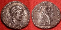 Ancient Coins - VALENTINIAN II AR silver siliqua. VICTORIA AVGGG, Victory advancing, holding wreath & palm. Trier.