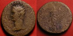 Ancient Coins - DOMITIAN AE dupondius. 86 AD. Fortuna standing, holding rudder & cornucopia. Left facing portrait with drapery. Very rare.