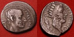 Ancient Coins - GAIUS COELIUS CALDUS AR silver denarius. 51 BC. Radiate bust of Sol, shield before and behind, bust of Consul Caldus, LIBERO DAMNO tablet behind, commemorating the lex Coelia