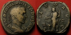 Ancient Coins - PHILIP I THE ARAB AE sestertius. Salus standing, holding patera over altar.