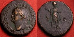 Ancient Coins - VESPASIAN AE as. Spes walking, holding flower. Left facing portrait, counterclockwise legend. Rare