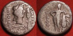 Ancient Coins - QUINTUS CAECILIUS METELLUS PIUS SCIPIO IMPERATOR AR silver denarius. Bust of Africa wearing Elephant headdress, Hercules leaning on club. Scarce.