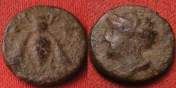 Ancient Coins - IONIA, EPHESUS, AE4. 4th century BC. Bee with straight wings, bust of Artemis