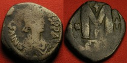 Ancient Coins - JUSTIN I AE follis. Struck at COnstantinople. Large M, cross above.