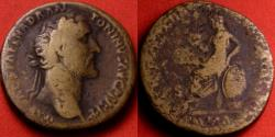 Ancient Coins - ANTONINUS PIUS AE sestertius. Roma seated on shield, holding patera & spear, ROMA in exergue