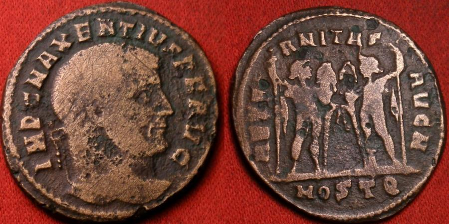 Ancient Coins - MAXENTIUS AE follis. Ostia mint. Castor & Pollux standing, holding horses.