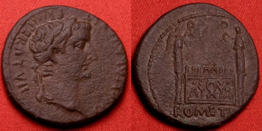 Ancient Coins - TIBERIUS, as Caesar, AE as. The Altar of Lugdunum, struck 12-14 AD.
