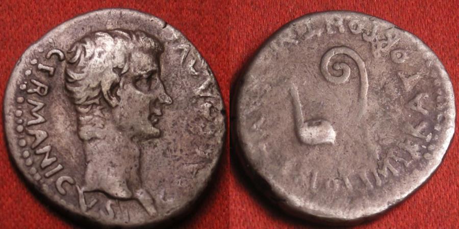 Ancient Coins - CALIGULA AR silver drachm. Caesarea, Cappadocia. Latin legends. Simpulum and lituus. Rare.