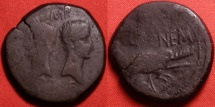 Ancient Coins - AUGUSTUS & AGRIPPA AE Dupondius, Nemausus Mint. Crocodile, chained to palm branch. 15.6g