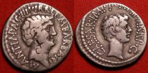 Ancient Coins - OCTAVIAN & MARCUS ANTONIUS (Marc Antony) Reconciliation issue dual portrait denarius. Ephesus mint, 41 BC