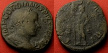 Ancient Coins - GORDIAN III AE sestertius. IOVI STATORI, Jupiter standing, holding thunderbolt & scepter.
