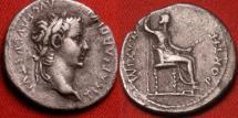 Ancient Coins - TIBERIUS AR silver denarius. PONTIF MAXIM, Livia, as Pax, seated right